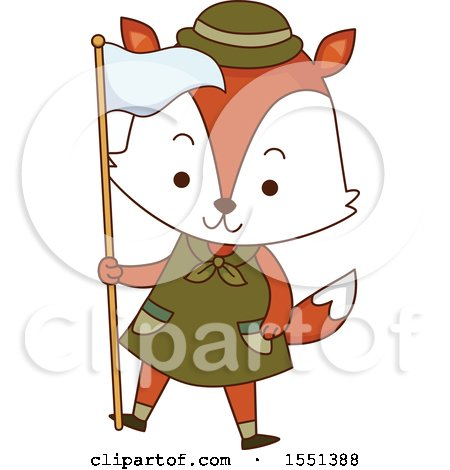 Clipart of a Fox Scout Holding a Flag - Royalty Free Vector Illustration by BNP Design Studio