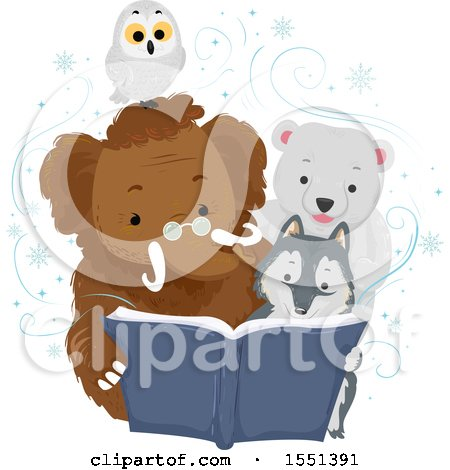 Clipart of a Mammoth, Wolf, Polar Bear and Owl Reading a Book in the Winter - Royalty Free Vector Illustration by BNP Design Studio