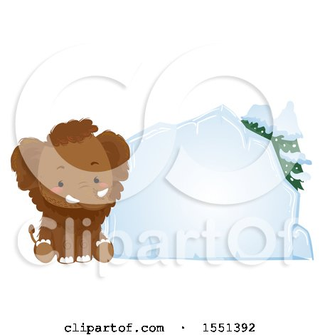 Clipart of a Cute Mammoth Sitting by a Blank Ice Block - Royalty Free Vector Illustration by BNP Design Studio
