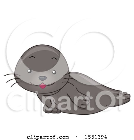Clipart of a Cute Seal Resting - Royalty Free Vector Illustration by BNP Design Studio