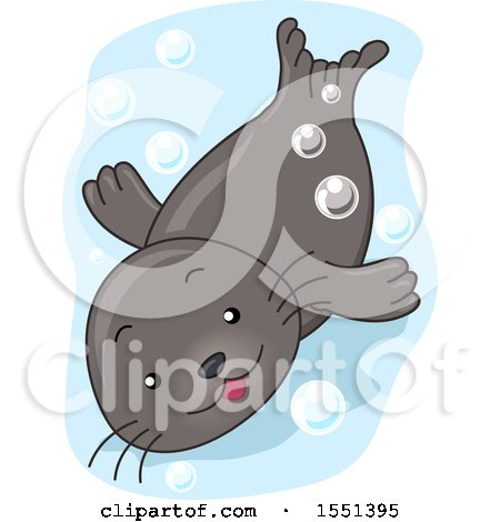 Clipart of a Cute Seal Swimming - Royalty Free Vector Illustration by BNP Design Studio