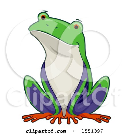 Clipart of a Cute Sitting Tree Frog - Royalty Free Vector Illustration by BNP Design Studio