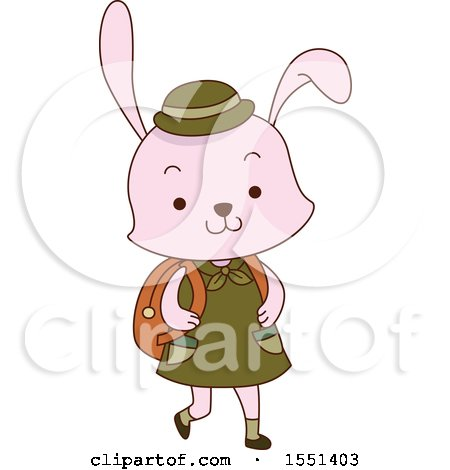 Clipart of a Pink Rabbit Scout Wearing a Backpack - Royalty Free Vector Illustration by BNP Design Studio