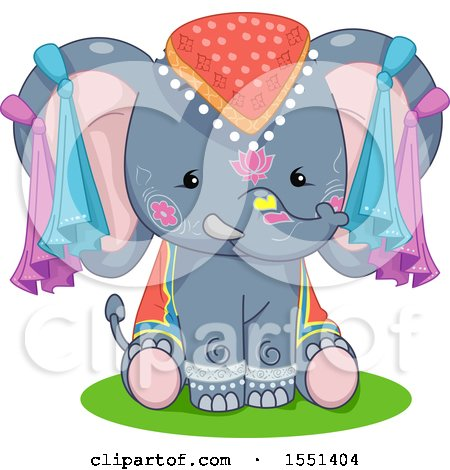 Clipart of a Cute Festival Elephant - Royalty Free Vector Illustration by BNP Design Studio