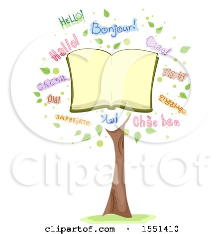 Clipart of a Tree Formed of an Open Book and the Word Hello in Different Languages - Royalty Free Vector Illustration by BNP Design Studio
