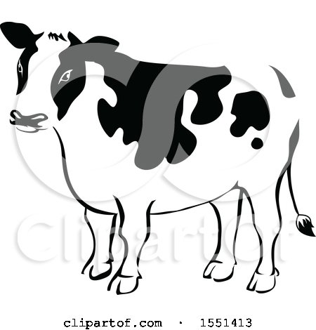 Clipart of a Black and White Dairy Cow - Royalty Free Vector Illustration by BNP Design Studio