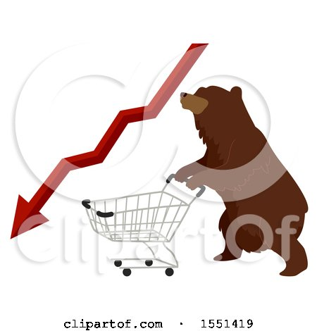 Clipart of a Bear Mascot Pushing a Shopping Cart with a Red Decline Stock Market Arrow - Royalty Free Vector Illustration by BNP Design Studio