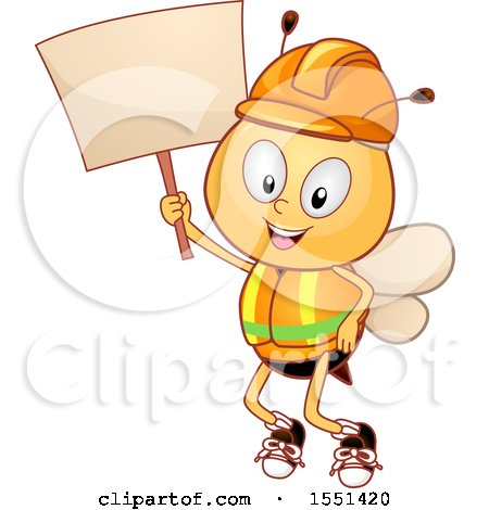 Clipart of a Worker Bee Mascot Wearing a Hardhat and Vest, Holding up a Blank Sign - Royalty Free Vector Illustration by BNP Design Studio