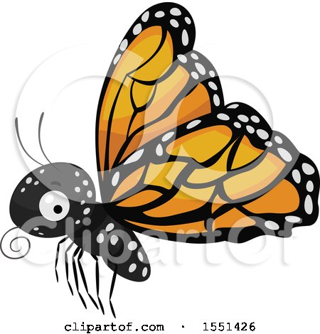 Clipart of a Flying Monarch Butterfly - Royalty Free Vector Illustration by BNP Design Studio