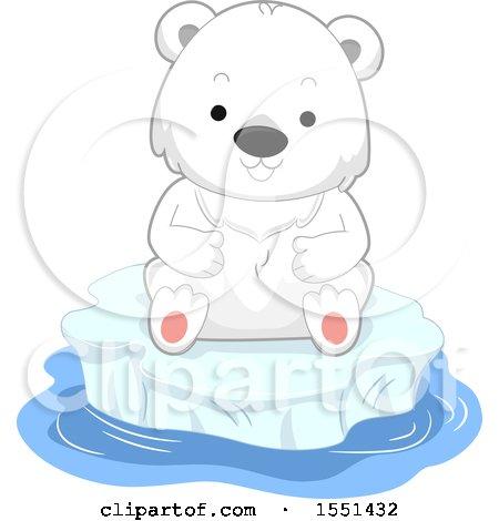 Clipart of a Cute Polar Bear Cub on an Iceberg - Royalty Free Vector Illustration by BNP Design Studio