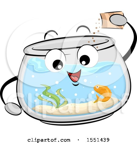 Clipart of a Fish Bowl Mascot Feeding Its Pet - Royalty Free Vector Illustration by BNP Design Studio
