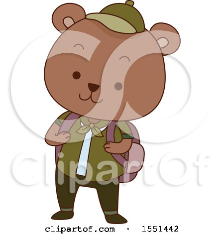 Clipart of a Bear Scout Wearing a Backpack - Royalty Free Vector Illustration by BNP Design Studio