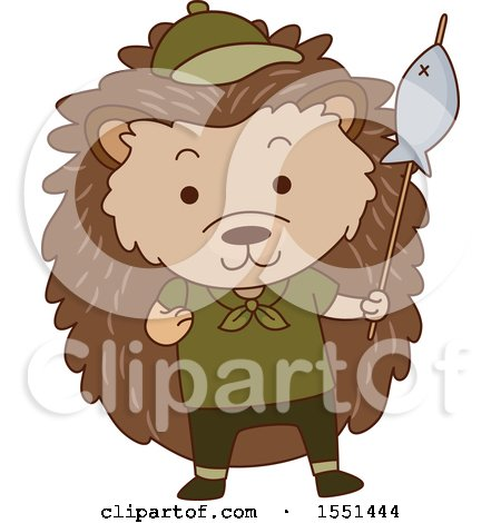 Clipart of a Hedgehog Scout Holding a Fishing Spear - Royalty Free Vector Illustration by BNP Design Studio