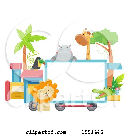 Clipart of a Train with a Blank Sign and Zoo Animals - Royalty Free Vector Illustration by BNP Design Studio