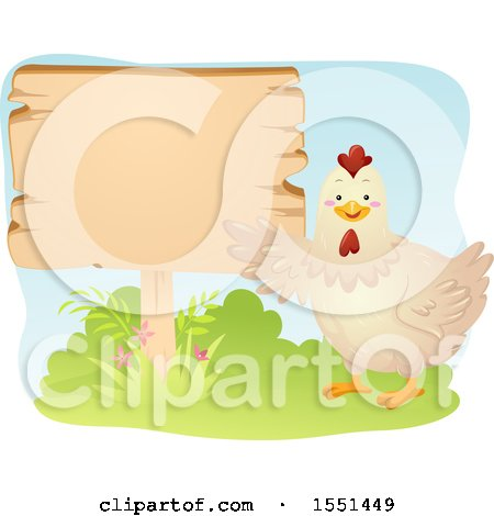 Clipart of a Chicken Presenting a Blank Sign - Royalty Free Vector Illustration by BNP Design Studio