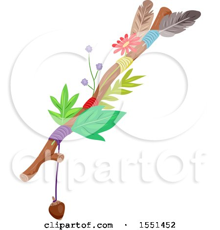 Clipart of a Journey Stick with Leaves, Flowers, Feathers, an Acorn and String - Royalty Free Vector Illustration by BNP Design Studio