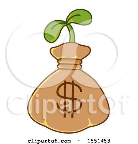 Clipart of a Dollar Money Bag with a Seedling Plant - Royalty Free Vector Illustration by BNP Design Studio
