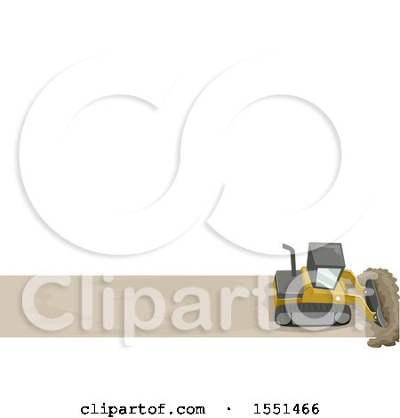 Clipart of a Bulldozer Clearing a Path, Under Text Space - Royalty Free Vector Illustration by BNP Design Studio