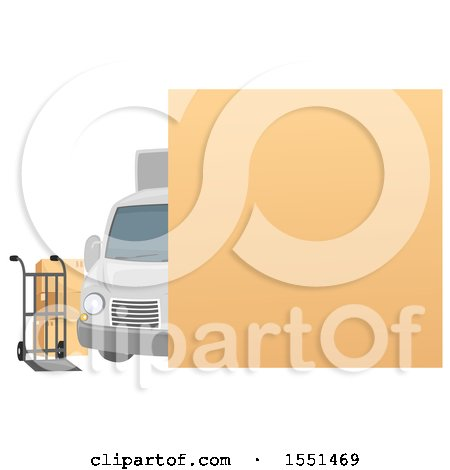 Clipart of a Blank Sign over a Moving Van, Dolly and Boxes - Royalty Free Vector Illustration by BNP Design Studio