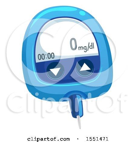 Clipart of a Blue Medical Blood Glucose Meter - Royalty Free Vector Illustration by BNP Design Studio