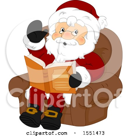 Clipart of a Waving Santa Claus Sitting and Reading a Story Book - Royalty Free Vector Illustration by BNP Design Studio