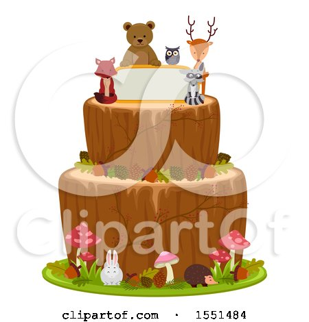 Clipart of a Woodland Themed Cake with Forest Animals and a Sign - Royalty Free Vector Illustration by BNP Design Studio