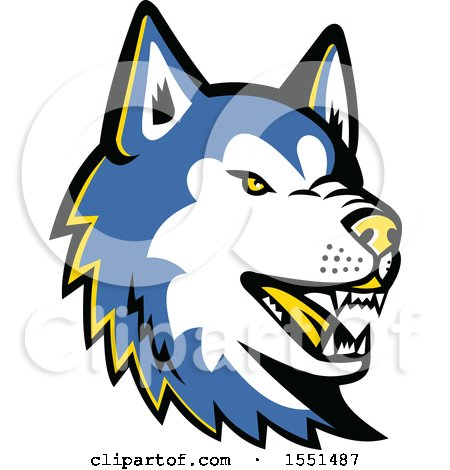 Clipart of a Blue Siberian Husky Dog Mascot Head - Royalty Free Vector Illustration by patrimonio