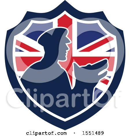Clipart of a Retro Silhouetted Security Guard and Dog in a Union Jack Flag Shield - Royalty Free Vector Illustration by patrimonio