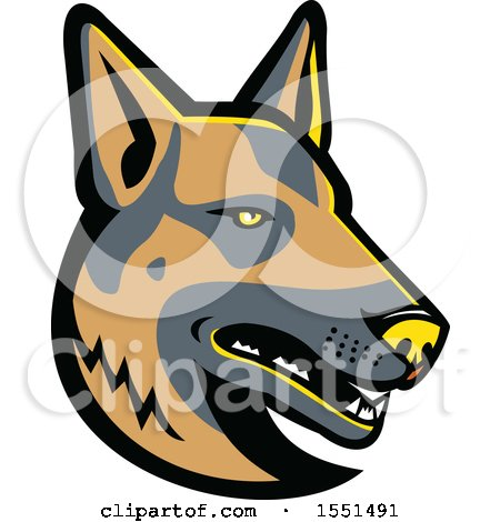 Clipart of a German Shepherd Dog Mascot Head - Royalty Free Vector Illustration by patrimonio