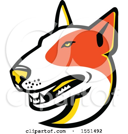 Clipart of a Bull Terrier Dog Mascot Head - Royalty Free Vector Illustration by patrimonio