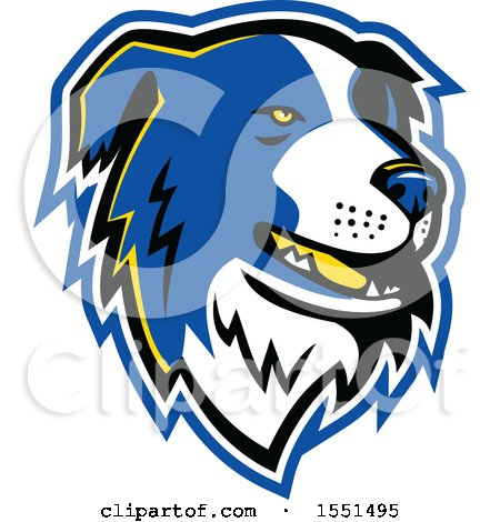 Clipart of a Blue Border Collie Dog Mascot Head - Royalty Free Vector Illustration by patrimonio