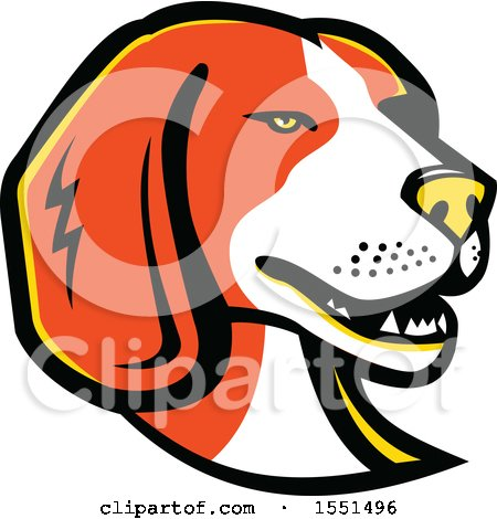 Clipart of a Beagle Dog Mascot Head - Royalty Free Vector Illustration by patrimonio