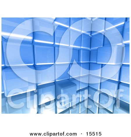 Ice Blue Abstract Background With Cubes, Some Pushed Back, Some Sticking Outwards Clipart Illustration Image by 3poD