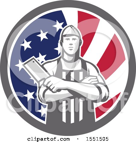 Clipart of a Retro Butcher Holding a Cleaver in Folded Arms Inside an American Flag Circle - Royalty Free Vector Illustration by patrimonio
