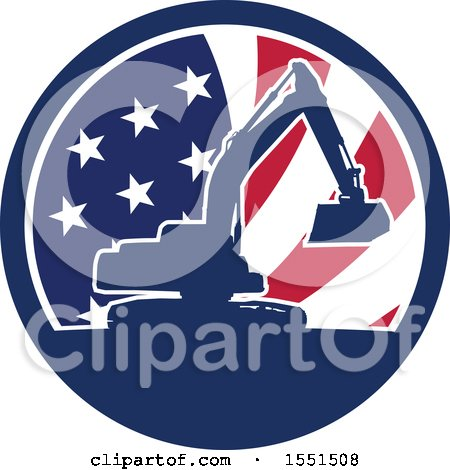 Clipart of a Retro Silhouetted Excavator Machine in an American Flag Circle - Royalty Free Vector Illustration by patrimonio