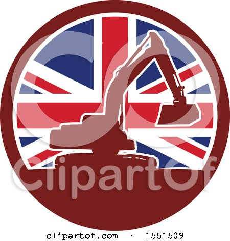 Clipart of a Retro Silhouetted Excavator Machine in a Union Jack Flag Circle - Royalty Free Vector Illustration by patrimonio