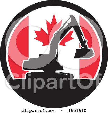 Clipart of a Retro Silhouetted Excavator Machine in a Canadian Flag Circle - Royalty Free Vector Illustration by patrimonio