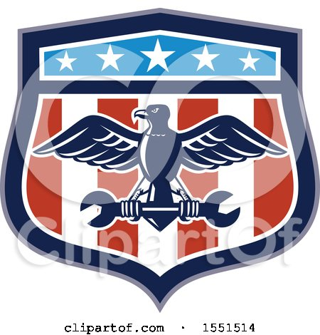 Clipart of a Retro Eagle and Spanner Wrench in an American Shield - Royalty Free Vector Illustration by patrimonio