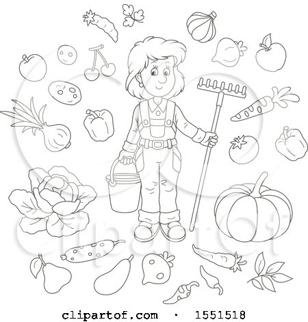 Clipart of a Lineart Female Farmer with Produce - Royalty Free Vector Illustration by Alex Bannykh