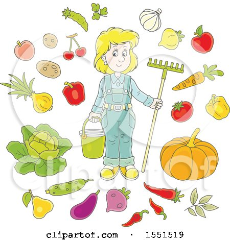 Clipart of a Blond Caucasian Female Farmer with Produce - Royalty Free Vector Illustration by Alex Bannykh