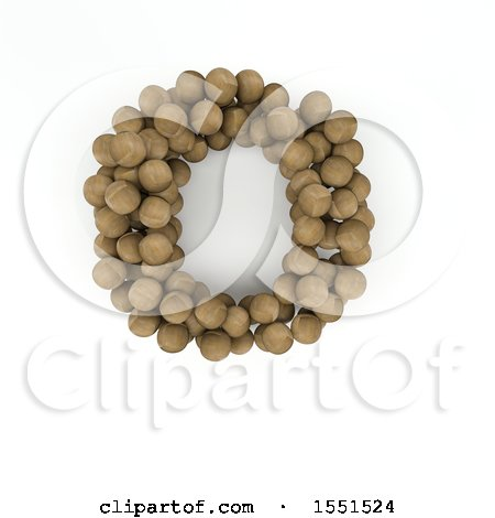 Clipart of a 3d Wood Sphere Capital Letter O on a White Background - Royalty Free Illustration by KJ Pargeter