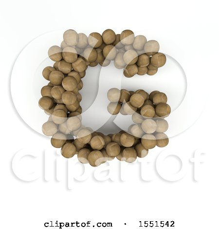 Clipart of a 3d Wood Sphere Capital Letter G on a White Background - Royalty Free Illustration by KJ Pargeter