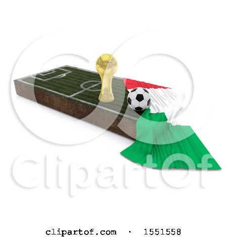 Clipart of a 3d Soccer Ball, Trophy Cup, Italy Flag and Pitch, on a Shaded Background - Royalty Free Illustration by KJ Pargeter