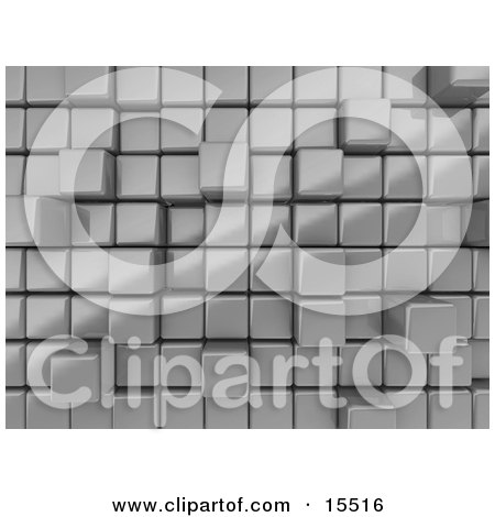 Silver Abstract Background With Cubes, Some Pushed Back, Some Sticking Outwards Clipart Illustration Image by 3poD