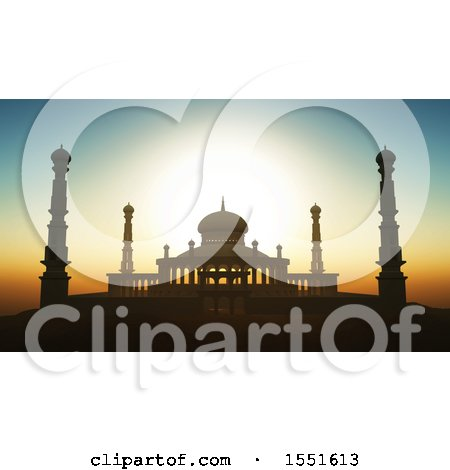 Clipart of a 3d Silhouetted Mosque Against a Sunset Sky - Royalty Free Illustration by KJ Pargeter