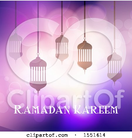 Clipart of a Ramadan Kareem Greeting with Silhouetted Lanterns - Royalty Free Vector Illustration by KJ Pargeter