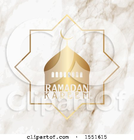 Clipart of a Ramadan Kareem Greeting with a Mosque - Royalty Free Vector Illustration by KJ Pargeter