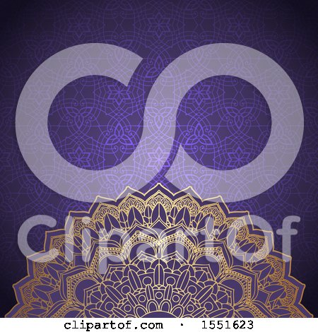 Clipart of a Golden Mandala on a Purple Pattern - Royalty Free Vector Illustration by KJ Pargeter