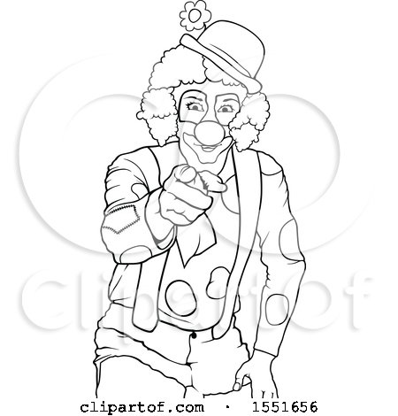 Clipart of a Lineart Clown Pointing - Royalty Free Vector Illustration by dero