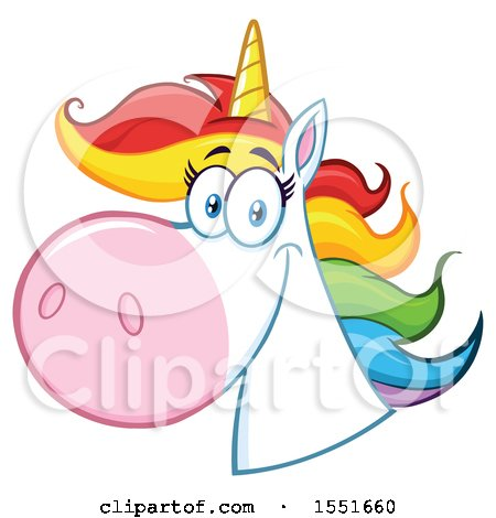 Clipart of a Rainbow Haired Unicorn Mascot - Royalty Free Vector Illustration by Hit Toon